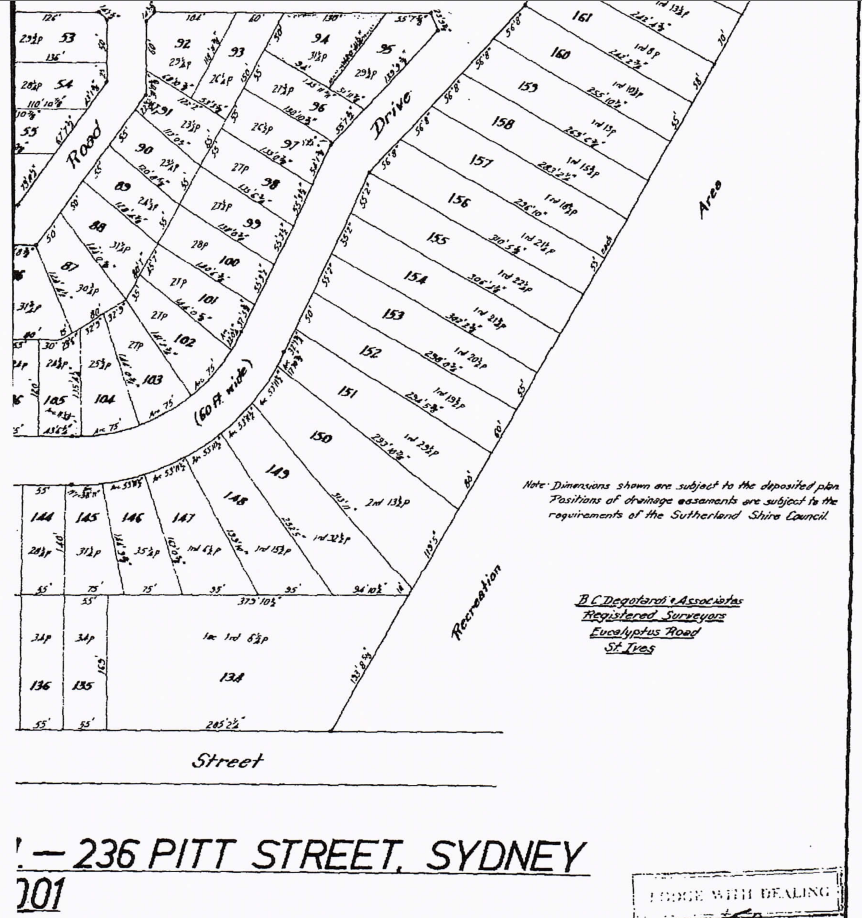"Pacific Waters land sale map of 1963 showing former Scout land, Spring Gully, as a ""Recreation Area""."